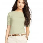 Lauren Petite Stretch Cotton Boatneck Tee (sage)