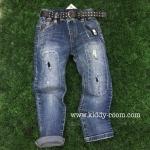 (เล็ก-โต) กางเกงยีนส์ฟอก โทนเข้ม ผ้าเกาหลี เนื้อนิ่ม ผ้าดีม๊ากขอบอก ทรงสวย แต่งแบบปะๆ เย็บๆ ขาดๆ มาพร้อมเข็มขัดเท่ๆ ใส่ได้ทั้งหญิงและชาย size 5,15