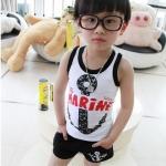 ชุดเด็กลายสมอ แขนกุด สีขาวดำ สไตล์เกาหลี