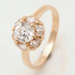 แหวนเคลือบทองคำ 14K หัวแหวนดอกไม้ White Sapphire, Flower Style ขนาดแหวนเบอร์ 7.5
