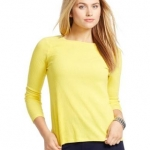 Lauren Woman Zip-Shoulder Cotton Tee (yellow)