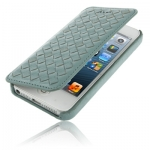 Case เคส Luxury Leather Series Weave Texture Horizontal Flip Sheepskin Case for iPhone 5 (Blue Gray)