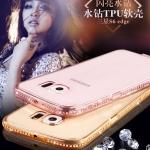 (436-015)เคสมือถือซัมซุง Case Samsung S6 Edge Plus เคสนิ่มใสซิลิกาเจลขอบประดับเพชร