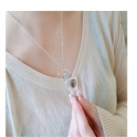 SILVER Key to your Heart Necklace สร้อยคอรูปกุญแจสีเงินแต่งคริสตัล