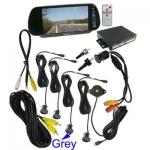 กระจกมองหลัง จอแอลซีดี 7 นิ้ว + กล้องวิดีโอ ระบบเซ็นเซอร์ถอยหลัง 4 จุด (Grey)