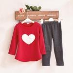 (Pre) ชุดเสื้อหัวใจ+กางเกง +ที่คาดผม สีแดง (แบบหนา)