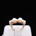 Gold Pearl Ring แหวนแฟชั่นโลหะชุบทองคำแต่งมุกแถว สไตล์เกาหลี