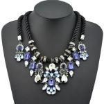 Celebrity Style Statement Necklace สร้อยคอแผงแต่งคริสตัลสีน้ำเงิน สุดหรูอลังการ ใส่ออกงานสุดเริ่ด