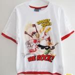 Looney Tunes (งานแท้) เสื้อยืดสีขาว แขนและชายเสื้อขลิบแดง สกรีนลาย Taz, Daffy และ Bugs bunny ผ้าดี เนื้อนิ่ม ใส่สบายค่ะ size 6, 10