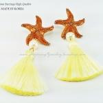ต่างหู ตุ้มหู Starfish งานเกาหลีเกรด Premium เรือนทอง ตัวปลาดาวสีเหลืองเหลือบทองประดับมุกและพู่ขนนุ่มมากๆ เกร๋ฝุดๆค่ะคู่นี้ ขนาด 3.5cm x 8.8cm