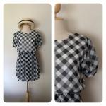 Mini Dress ผ้าชีฟองลายตารางสีขาวดำ