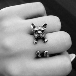 3D Silver Bull Dog Open Ring แหวนรูปน้องหมาบูลด็อกสีเงิน 3 มิติ รอบแหวนแบบเปิด