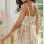 2in1 Sexy Princess Ivory Dress ชุดนอนเซ็กซี่ผ้าซีทรูลูกไม้สีขาวงาช้างแต่งลูกไม้อก พร้อมจีสตริง สวยสง่าไสตล์เจ้าหญิง thumbnail 3