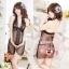 2in1 Sexy Dress ชุดนอนเซ็กซี่ซีทรูผ่าหน้าสีดำแต่งโบว์+จีสตริง 8100 thumbnail 1