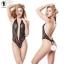 Blace Lace Sexy Deep V Bodysuit ชุดนอนบอดี้สูทผ้าลูกไม้สีดำ คอวีลึก แต่งสะโพกด้านหลังรูปหัวใจ thumbnail 3