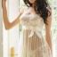 2in1 Sexy Princess Ivory Dress ชุดนอนเซ็กซี่ผ้าซีทรูลูกไม้สีขาวงาช้างแต่งลูกไม้อก พร้อมจีสตริง สวยสง่าไสตล์เจ้าหญิง thumbnail 2