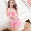2in1 Sweet Pink Sexy Babydoll ชุดนอนเซ็กซี่ซีทรูสีชมพูแต่งระบายที่อก ระบายชาย พร้อมจีสตริง thumbnail 1