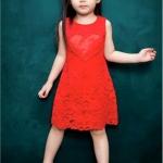 พร้อมส่งค่ะ เดรสสาวน้อยน่ารัก ผ้าลูกไม้สีแดง มีปักลูกปัดสีแดงตรงหน้าอก น่ารักมากค่ะ เหลือไซส์ 100/110/120