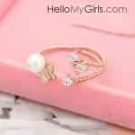 แหวนแฟชั่นเกาหลี แหวนเพชรแต่งรูปผีเสื้อและมุก (Free Size)